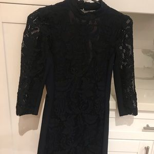 High neck lace mini dress
